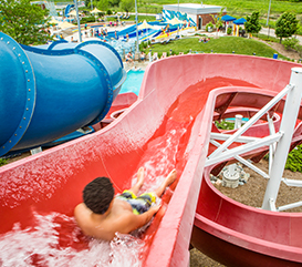 Kids on slide at Monon Community Center Waterpark