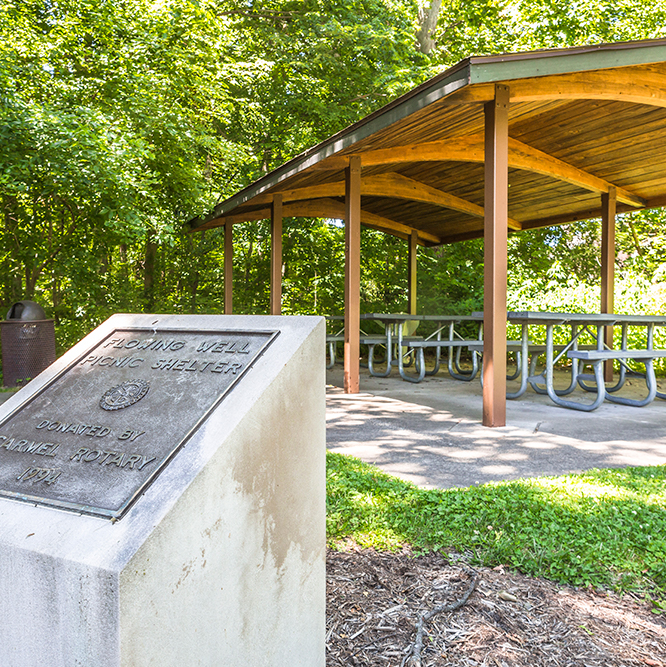 Rentable park shelter at Flowing Well Park