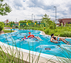 People in the Lazy River at the Monon Community Center Waterpark