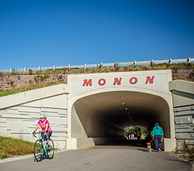biking on the Monon Greenway