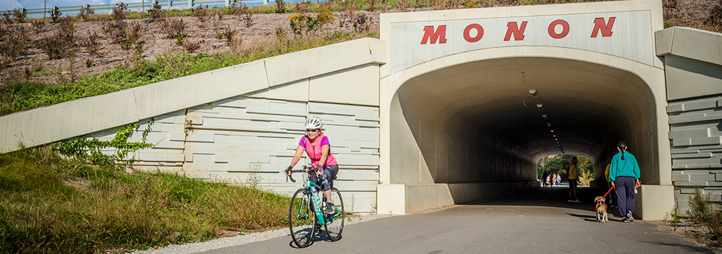 bicycling on the Monon Greenway