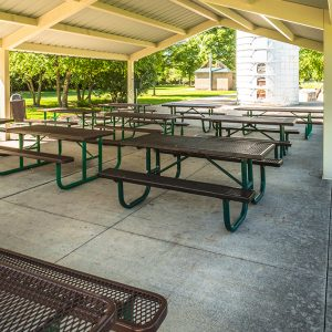 picnic tables at River Heritage Park