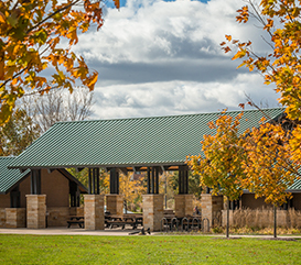 Shelter at Carmel Park surrounded by nature and greenspace. You can reserve park shelters online or at the Monon Community Center