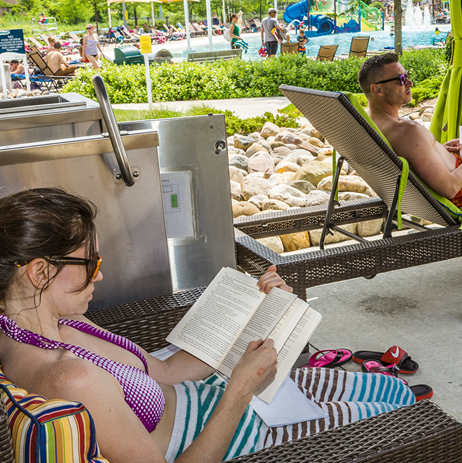 reading in a cabana