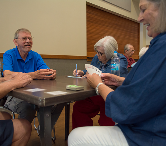 Playing cards in a senior program