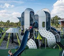 Playground and slide at Westermeier Commons park in Carmel