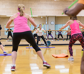 Group Fitness Classes at Monon Community Center including yoga, barre, aqua fitness, strength, SilverSneakers, cycle and more