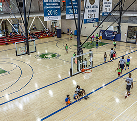 Gymnasium at the Monon Community Center where there are courts for basketball, volleyball, pickleball, open gym, and more!