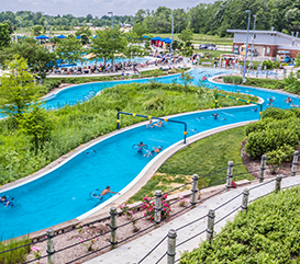 Lazy River and Adventure Slides at The Waterpark at Monon Community Center, included in membership. Rent a cabana for the perfect way to spend a summer day with your family