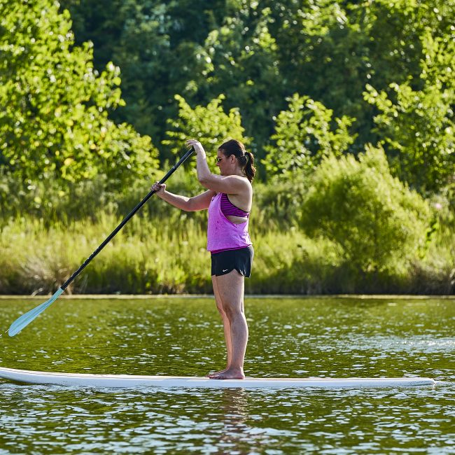 Paddleboarding at a wellness program