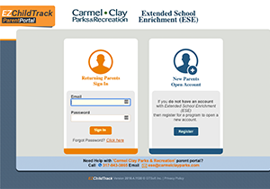 Screenshot of the EZChildTrack Login Page