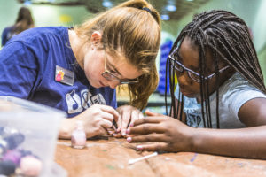 Girls working at Extended School Enrichment (ESE) - a before and after school program
