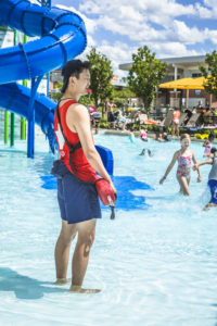 Lifeguard working at The Waterpark at the Monon Community Center (MCC)