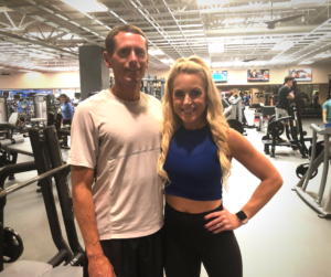 Marcus and Lindy Fischer in the Fitness Center at the Monon Community Center