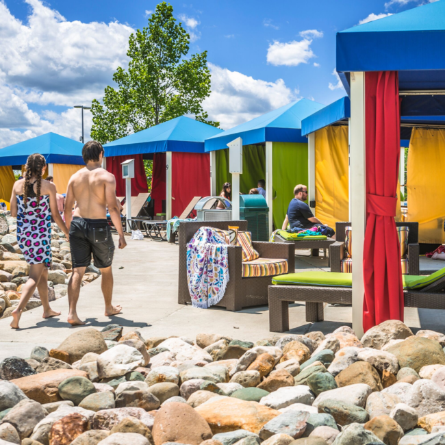 cabanas and rentable space at The Waterpark providing shade and excellent customer service