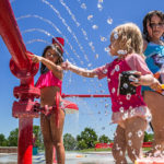 Children playing at Inlow Park splash pad