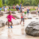 Children playing at West Park splash pad