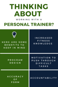 Thinking about working with a personal trainer? Here are some benefits to keep in mind: Increased fitness knowledge, Program design, Motivation to push through difficult tasks, Accuracy of form, Accountability