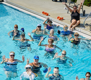 Laura Seagrave and her aqua fitness students