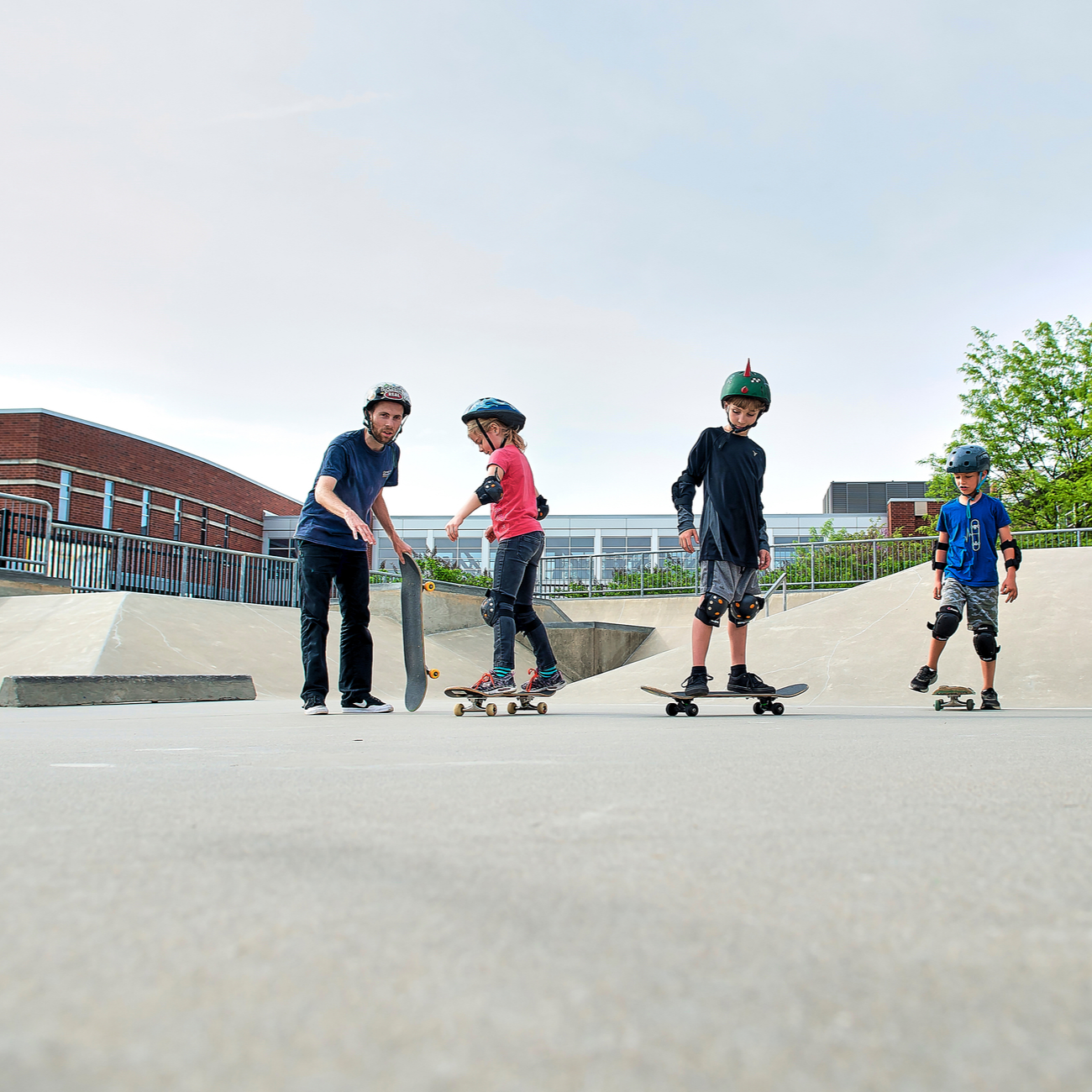 Kids skating at the skate park at the Monon Community Center in Carmel