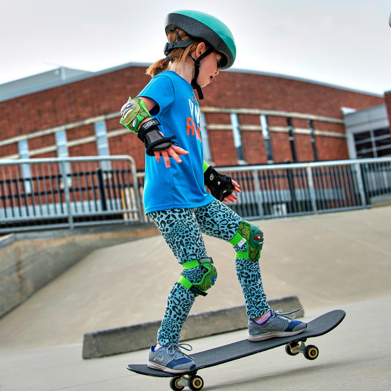 Girl skating at the skate park at the Monon Community Center in Carmel