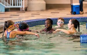 Girls in a swim lesson at the Monon Community Center