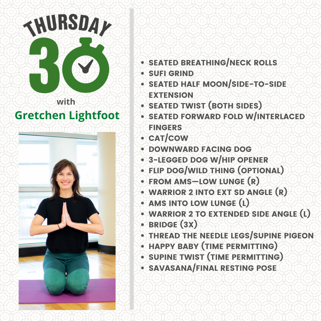Thursday 30 graphic with Kristen in a yoga pose