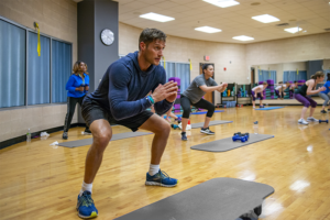 Mitch Vanderhagen in Group Fitness Class at the Monon Community Center