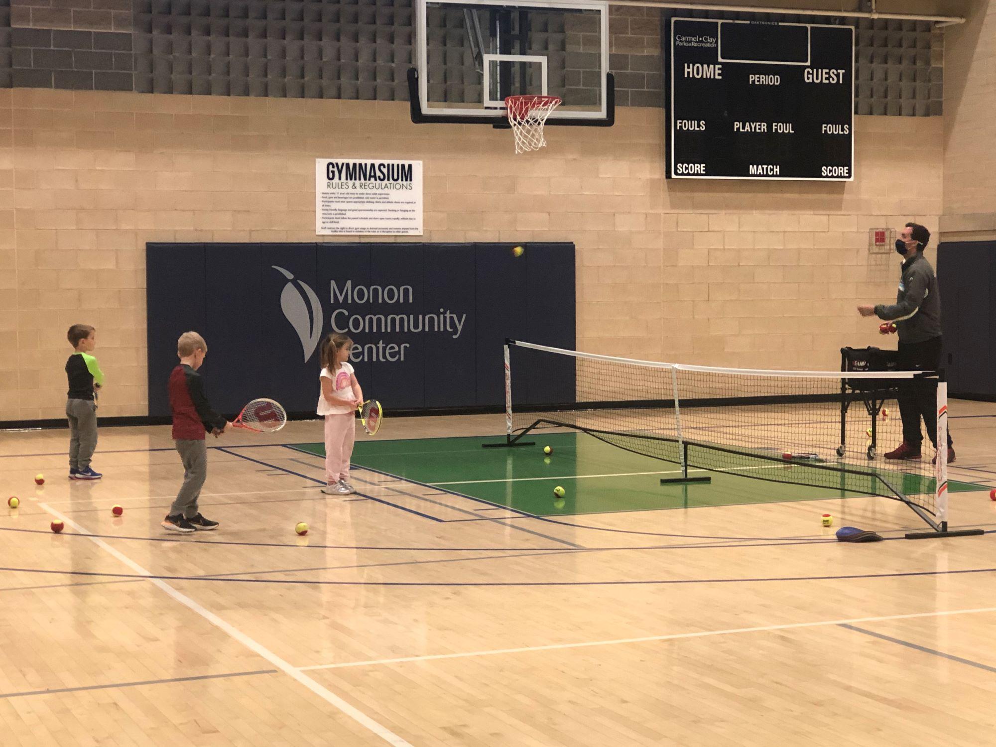 Kids in Quickstart Tennis Program at the Monon Community Center