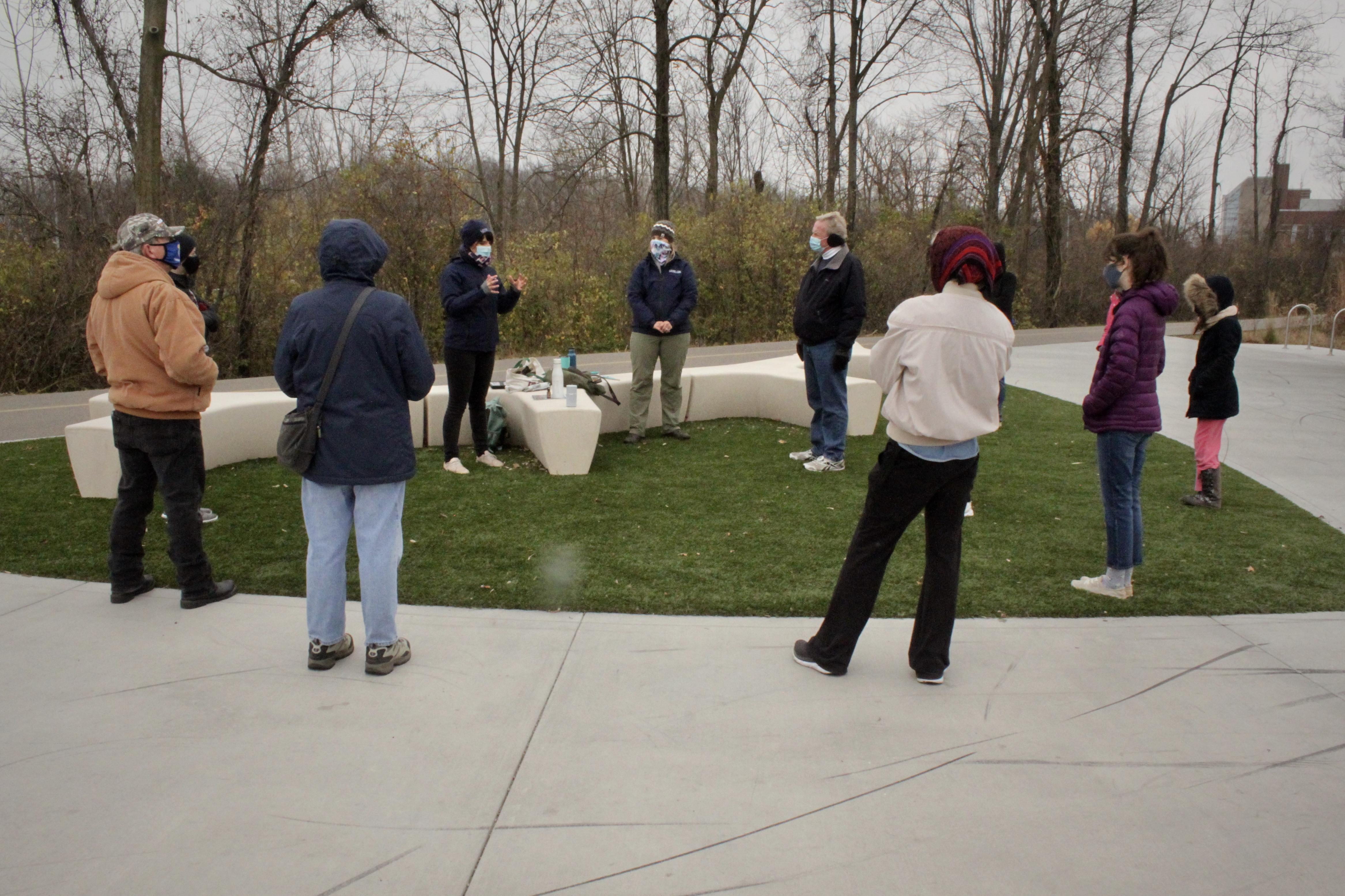 Volunteers standing outside