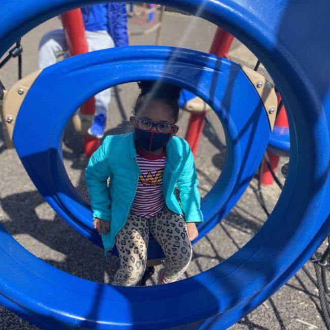 Girl in a slide